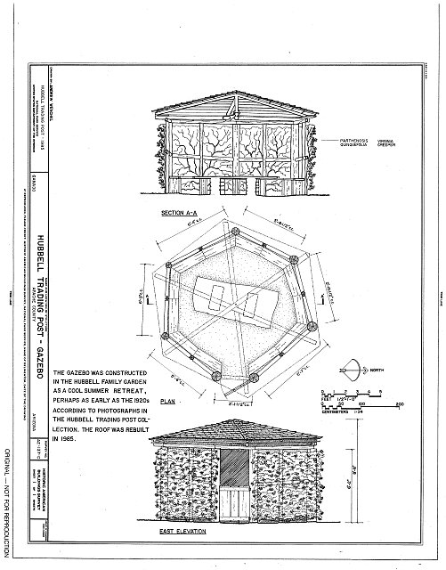 HABS ARIZ,1-GANA,1G- (sheet 1 of 1) - Hubbell Trading Post, Gazebo, Ganado, Apache County, AZ