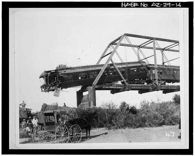 14.  Photocopy of photograph [original print located at University Archives, Hayden Library, Arizona State University, Tempe, Arizona]. Photographer unknown, 1902 VIEW SHOWING TRAIN WRECK ON MARICOPA AND PHOENIX RAILROAD CAUSED BY BRIDGE FAILURE RESULTING FROM FLOOD DAMAGE - Ash Avenue Bridge, Spanning Salt River at Foot of Ash Avenue, Tempe, Maricopa County, AZ