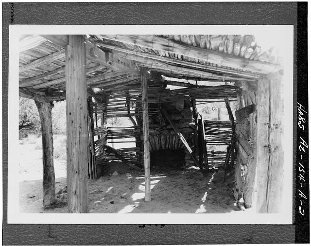 2.  INTERIOR VIEW (SOUTH) SHOWING STONE MANTEL AND CHIMNEY - Hocker Well, Jacal, Ajo, Pima County, AZ