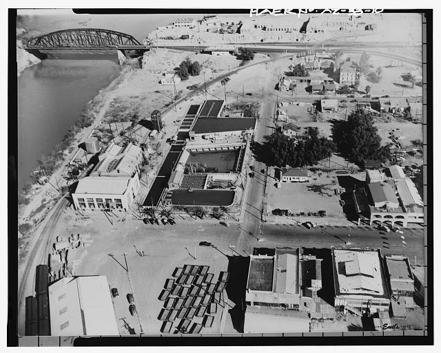 10.  Photocopy of photograph (original print located in the private collection of Emil Eger, photographer, Yuma, Arizona) Photographer: Emil Eger, October 18, 1950. AERIAL VIEW LOOKING EAST. - Yuma Main Street Water Treatment Plant, Jones Street at foot of Main Street, Yuma, Yuma County, AZ