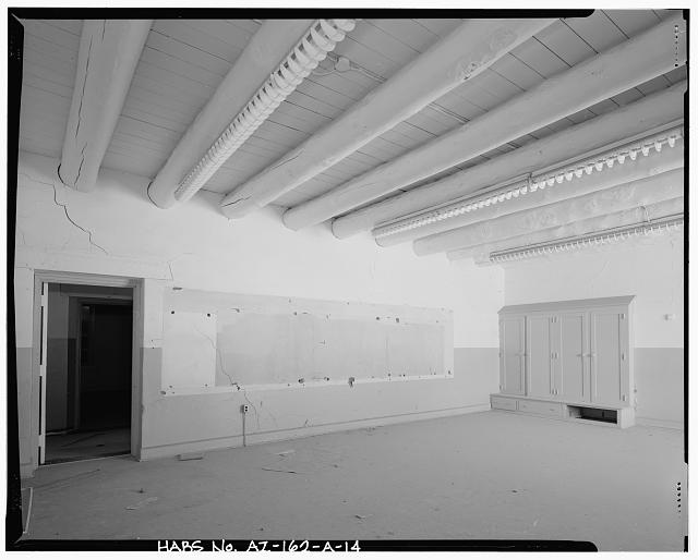 14.  INTERIOR VIEW OF TYPICAL CLASSROOM SHOWING BUILT-IN STORAGE - Pinon Boarding School, Classroom Building, Navajo Route 41, North of Navajo Route 4, Pinon, Navajo County, AZ