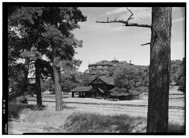 8.  RAILWAY STATION AND EL TOVAR HOTEL, FACING WNW. - Village Loop Drive, Grand Canyon Village, Grand Canyon, Coconino County, AZ