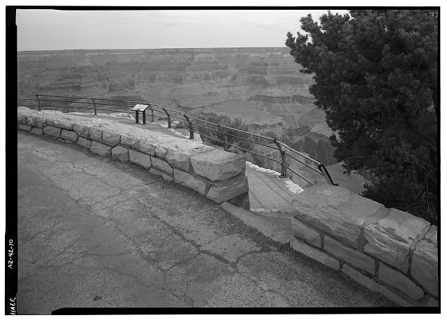 10.  WALL AND GUARD RAIL AT HOPI POINT, FACING N. - West Rim Drive, Between Grand Canyon Village &amp; Hermit Rest, Grand Canyon, Coconino County, AZ
