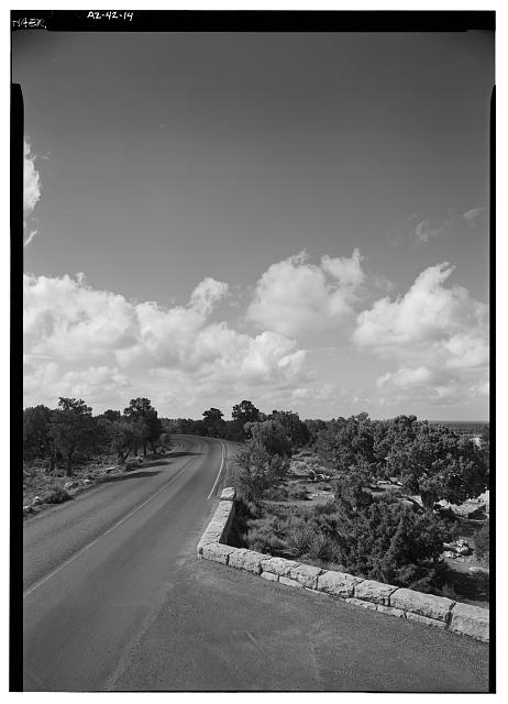 14.  25' WIDE TURNOUT WITH ROAD VIEW, FACING S. - West Rim Drive, Between Grand Canyon Village & Hermit Rest, Grand Canyon, Coconino County, AZ
