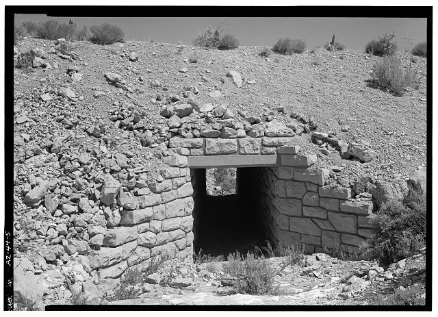 5.  BOX CULVERT ON OLD ROAD AT MILE 0.4 FROM OLD ROAD ACCESS INTERSECTION, FACING NNW. - East Rim Drive, Between South Entrance Road & park boundary, Grand Canyon, Coconino County, AZ