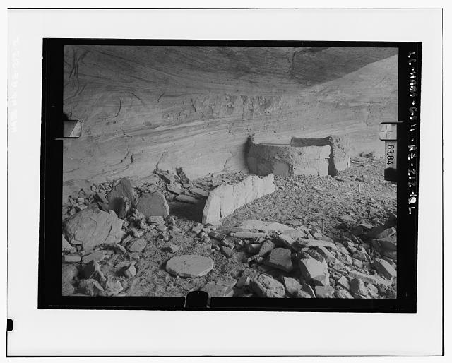2.  LOOKING INTO YUCCA CAVE, VIEW ALONG WALL Copy photograph of photogrammetric plate LC-HABS-GS11-AZ-212-10L - Yucca House Ruin, Canyon del Muerto, Chinle, Apache County, AZ