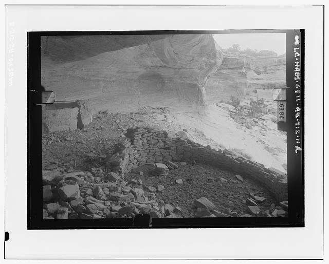 3.  VIEW OF YUCCA HOUSE RUINS, LOOKING TOWARD CAVE WALL Copy photograph of photogrammetric plate LC-HABS-GS11-AZ-212-11R - Yucca House Ruin, Canyon del Muerto, Chinle, Apache County, AZ