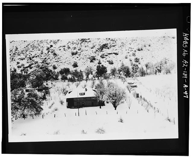 47.  Photocopy of negative (original in possession of Chiricahua National Monument) photographer unknown, undated RANCH HOUSE AND ORCHARD IN SNOW - Faraway Ranch, Erickson-Riggs Ranch House, State Highway 181, Willcox, Cochise County, AZ