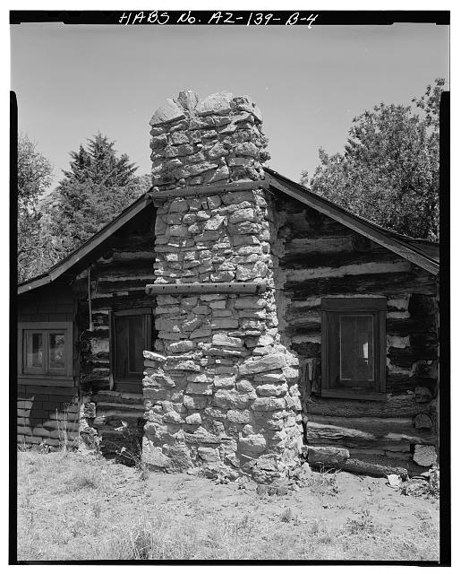 4.  CLOSE-UP OF CHIMNEY ON SOUTH SIDE - Faraway Ranch, Stafford-Riggs Cabin, Willcox, Cochise County, AZ