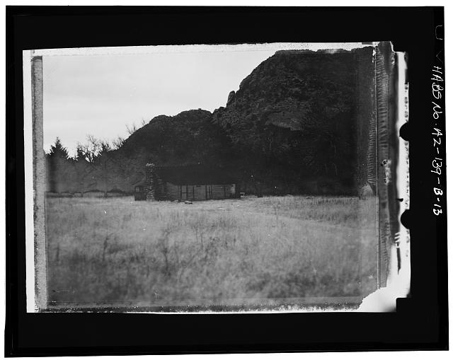 13.  Photocopy of negative (original in possession of Chiricahua National Monument), photographer unknown, c.1970 STAFFORD CABIN LOOKING WEST-NORTHWEST - Faraway Ranch, Stafford-Riggs Cabin, Willcox, Cochise County, AZ