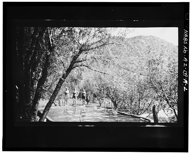 2.  Photocopy of negative (original in possession of Western Archeological and Conservation Center (WACC), Tucson, Arizona), photographer unknown, undated CHILDREN POISED AT EDGE OF FILLED SWIMMING POOL - Faraway Ranch, Swimming Pool, Willcox, Cochise County, AZ