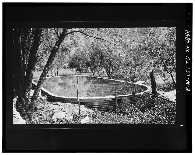 3.  Photocopy of negative (original in possession of WACC), photographer unknown, undated VIEW OF SWIMMING POOL AND IMMEDIATE CONTEXT - Faraway Ranch, Swimming Pool, Willcox, Cochise County, AZ