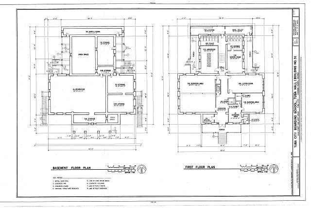 Basement and first floor plans - Tuba City Boarding School, Tuba Hall, Navajo Reservation, Main Street &amp; West Cedar Avenue, Tuba City, Coconino County, AZ