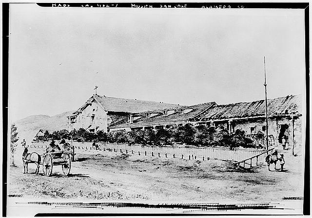 2.  Historic American Buildings Survey Photo from Vischer Drawing California Historical Society Original: August 16, 1866 (Vischer drawing) Re-photo: January 1940 VIEW FROM SOUTHWEST - Mission San Jose de Guadalupe, Mission & Washington Boulevards, Fremont, Alameda County, CA