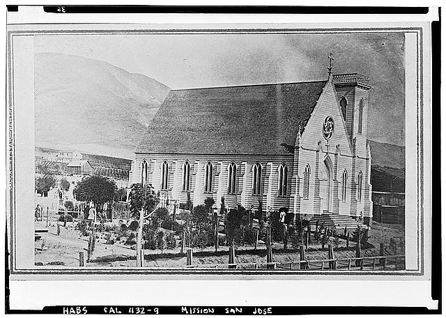 6.  Historic American Buildings Survey California Historical Society Original: After 1868 Re-photo: January 1940 CEMETERY AND FRAME CHURCH (VIEW FROM NORTHWEST) - Mission San Jose de Guadalupe, Mission & Washington Boulevards, Fremont, Alameda County, CA