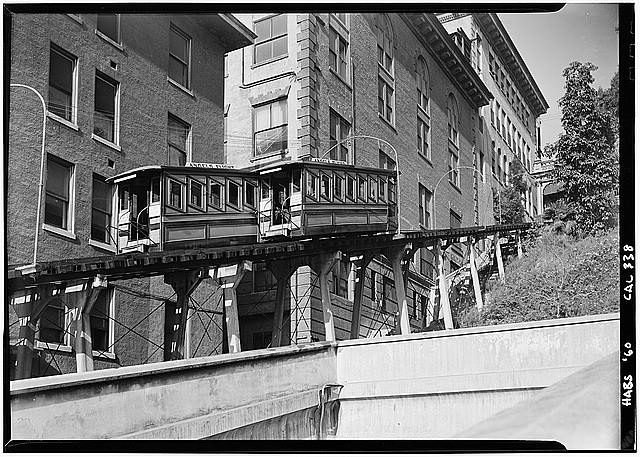 "3.   October 2, 1960 DETAIL OF CARS PASSING - ""Angels Flight"", Third & Hill Streets, Los Angeles, Los Angeles County, CA"