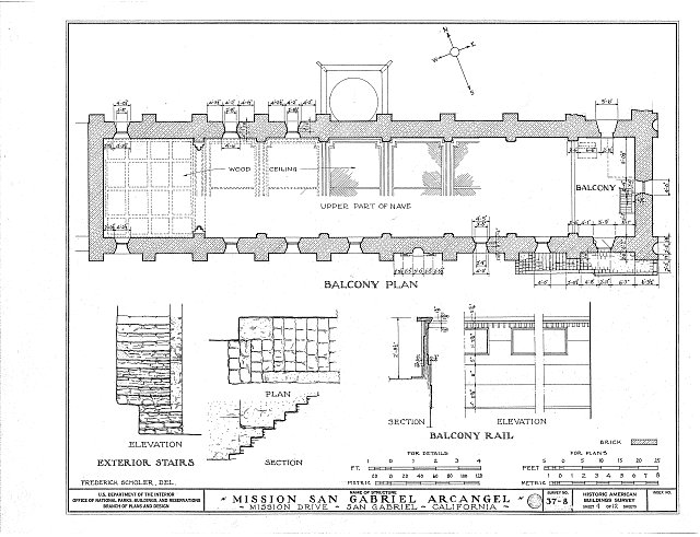 HABS CAL,19-SANGA,1- (sheet 4 of 12) - Mission San Gabriel Arcángel, 428 South Mission Drive, San Gabriel, Los Angeles County, CA