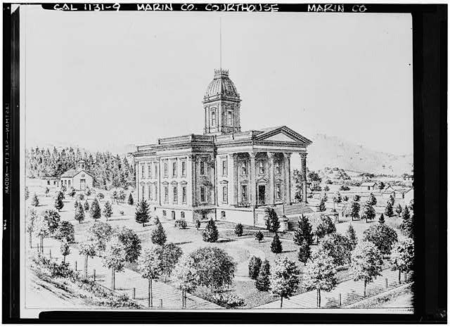 8.  Historic American Buildings Survey Frances Rand Smith Collection California Historical Society Original: 1870's Re-photo: January, 1940 FIRST FRAME CHURCH (LEFT), OLD MARIN COUNTY COURT HOUSE (CENTER) - Mission San Rafael Archangel, San Rafael, Marin County, CA