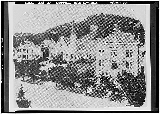 10.  Historic American Buildings Survey Frances Rand Smith Collection California Historical Society Original: About 1890 Re-photo: January 1940 SECOND FRAME CHURCH REPLACING MISSION (1890) - Mission San Rafael Archangel, San Rafael, Marin County, CA
