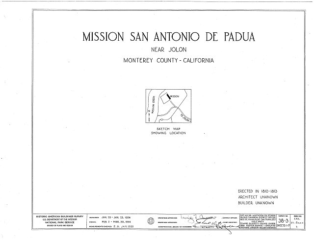 HABS CAL,27-JOLO.V,1- (sheet 0 of 17) - Mission San Antonio de Padua, Hunter Liggett Military Reservation, Jolon, Monterey County, CA