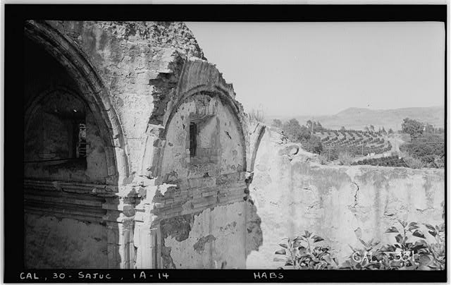 14.  Historic American Buildings Survey Photographed by Henry F. Withey June 1936 STONE CHURCH, ARCHES OF SANCTUARY AND EAST TRANSEPT - Mission San Juan Capistrano, Stone Church, Olive Street, between U.S. Highway 101 & Main Street, San Juan Capistrano, Orange County, CA
