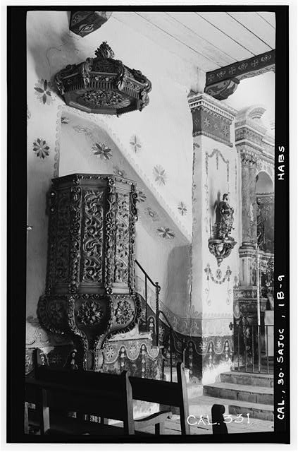 9.  Historic American Buildings Survey Photographed by Henry F. Withey June 1936 PULPIT IN SERRA'S CHURCH - Mission San Juan Capistrano, Serra's Church, Olive Street, between U.S. Highway 101 & Main Street, San Juan Capistrano, Orange County, CA