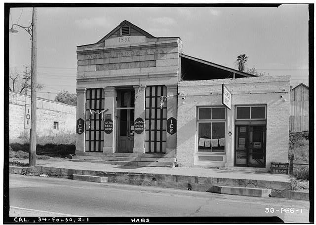 1.  Historic American Buildings Survey Roger Sturtevant, Photographer Mar. 25, 1934 WEST ELEVATION (FRONT) - Wells Fargo & Company Building, Folsom, Sacramento County, CA