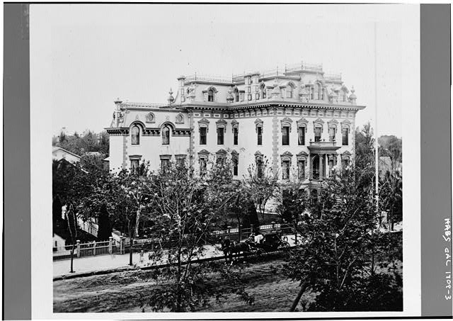 3.  Photocopy of 1872 photograph by Eadweard Muybridge in Stanford University Archives, PC 6. VIEW FROM THE NORTHEAST - Leland Stanford House, 800 N Street, Sacramento, Sacramento County, CA