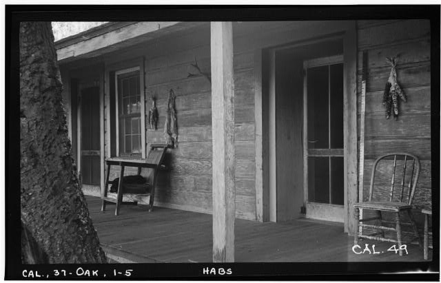5.  Historic American Buildings Survey Photographed by Henry F. Withey June 1937 PORCH DETAIL (NORTH FRONT) - Butterfield Stage Station, Oak Grove, San Diego County, CA