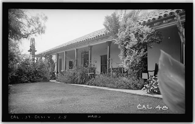 5.  Historic American Buildings Survey Photographed by Henry F. Withey May 1937 CORRIDOR DETAIL, S. W. FRONT. - Casa del Rancho Santa Margarita y Los Flores, U.S. Highway 101, Oceanside, San Diego County, CA