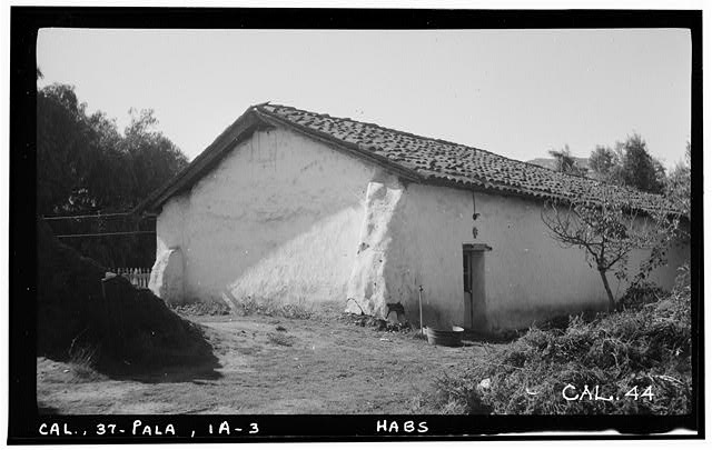 6.  Historic American Buildings Survey Photographed by Henry F. Withey, October 1936 VIEW OF CHAPEL FROM THE NORTHEAST. - Asistencia of San Antonio de Pala, Mission Road, Pala, San Diego County, CA
