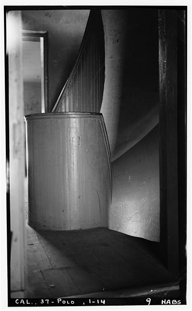 14.  Historic American Buildings Survey H. C. White, Photographer Dec. 6, 1934 SECOND FLOOR, STAIRS TO FIRST FLOOR - Point Loma Lighthouse No. 355, (moved), San Diego, San Diego County, CA