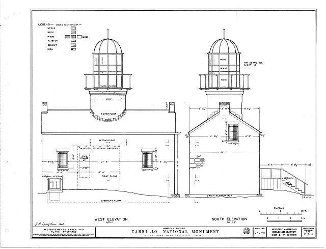 HABS CAL,37-POLO,1- (sheet 2 of 10) - Point Loma Lighthouse No. 355, (moved), San Diego, San Diego County, CA