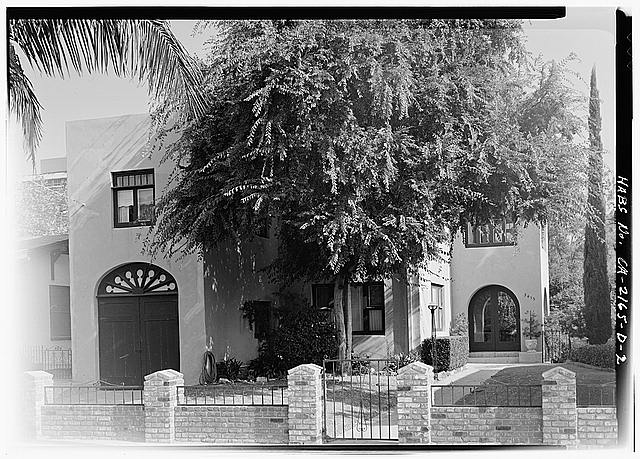 2.  WEST FRONT WITH LATER BRICK AND IRON WALL - Albatross Cottages, Teats Cottage No. 1, 3415 Albatross Street, San Diego, San Diego County, CA