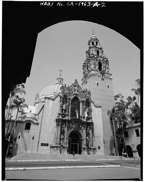 2.  SOUTH (MAIN) FACADE - Balboa Park, California Tower, Balboa Park, El Prado Area, San Diego, San Diego County, CA