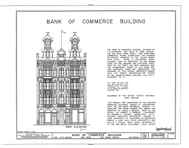 HABS CAL,37-SANDI,11- (sheet 1 of 1) - Bank of Commerce Building, 835 Fifth Avenue, San Diego, San Diego County, CA