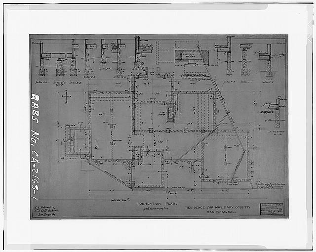 1.  FOUNDATION PLAN, 1906 - Mary Cossitt House, 3526 Seventh Avenue, San Diego, San Diego County, CA
