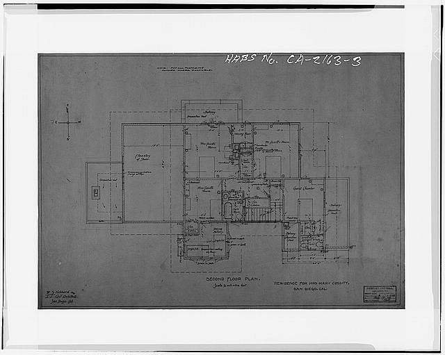 3.  SECOND FLOOR PLAN, 1906 - Mary Cossitt House, 3526 Seventh Avenue, San Diego, San Diego County, CA