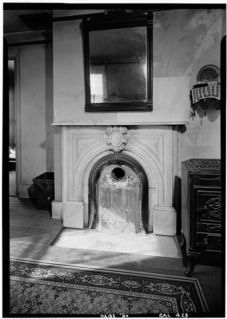 3.   October 1960 DETAIL OF FIREPLACE (NORTH WALL) - William Heath Davis House, 227 Eleventh Avenue, San Diego, San Diego County, CA