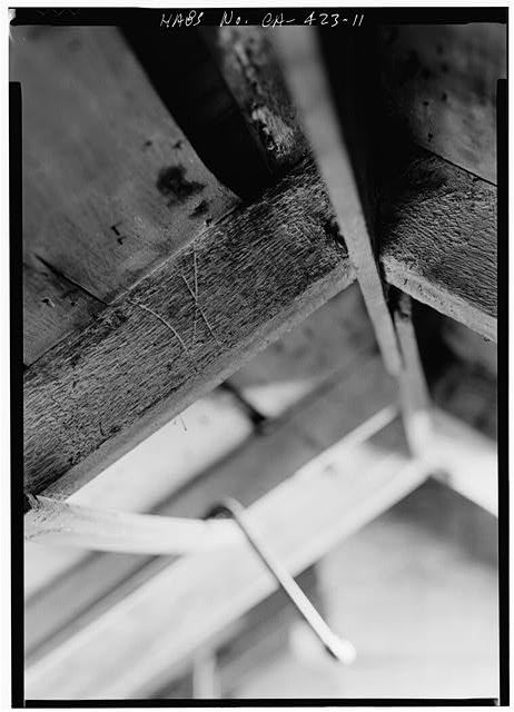 11.  ATTIC, DETAIL SHOWING ROMAN NUMERAL ON RAFTER - William Heath Davis House, 227 Eleventh Avenue, San Diego, San Diego County, CA