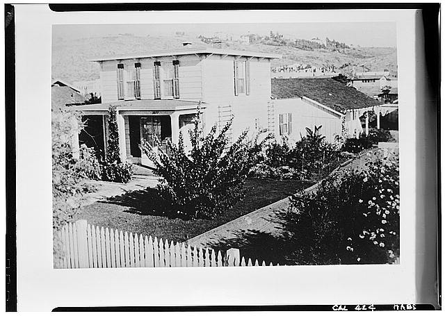 1.  Historic American Buildings Survey Union Title Company Collection Copy: 1960 WEST and SOUTH ELEVATIONS (Original Location) - George Derby House, 4017 Harney Street, San Diego, San Diego County, CA