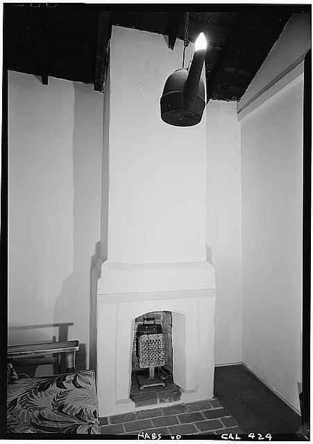 6.   October 1960 DETAIL OF FIREPLACE (North Wall - Adobe Wing) - George Derby House, 4017 Harney Street, San Diego, San Diego County, CA