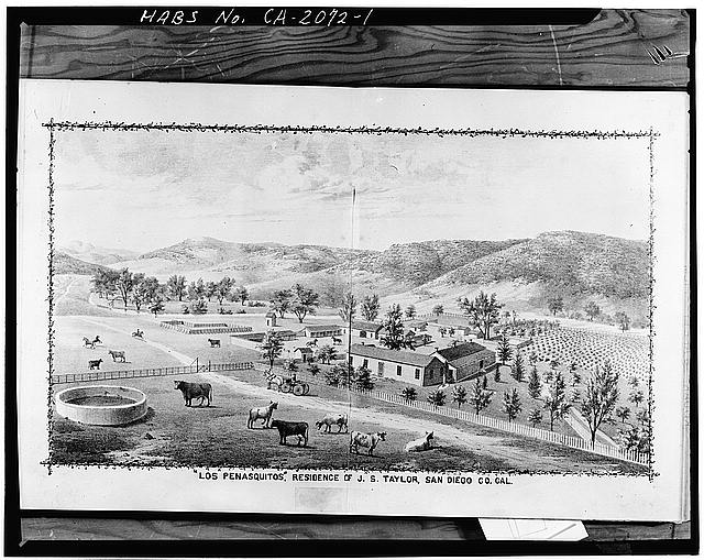 1.  GENERAL VIEW OF COMPLEX (drawing from History of San Diego County, California, published 1883. Photocopy 1975 by Bert Shankland, San Diego). - Johnson-Taylor Ranch House, Black Mountain Road vicinity, Rancho Penasquitos, San Diego County, CA