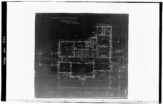 13.  Historic American Buildings Survey Mr. Hopkins, Draftsman of Hebbard and Gill, Architects October 21, 1904 BLUEPRINT OF ORIGINAL DRAWING OF FIRST FLOOR PLAN From the Collection of the San Diego Historical Society - George W. Marston House, 3525 Seventh Avenue, San Diego, San Diego County, CA
