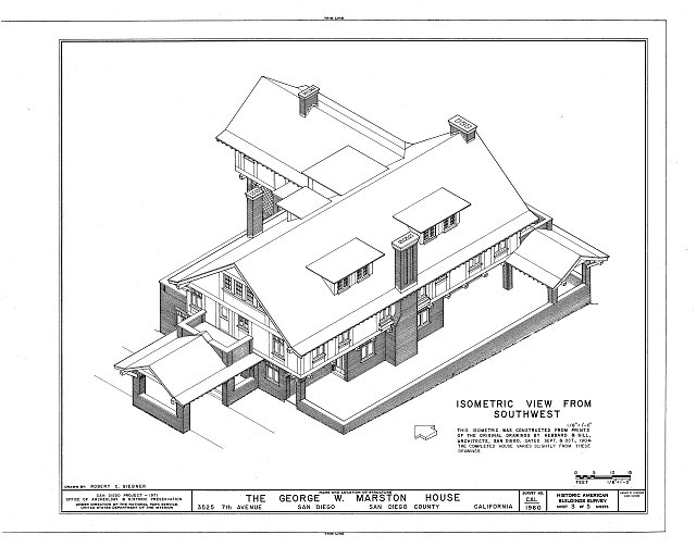 HABS CAL,37-SANDI,10- (sheet 3 of 5) - George W. Marston House, 3525 Seventh Avenue, San Diego, San Diego County, CA