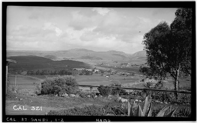2.  Historic American Buildings Survey Photographed by Henry F. Withey December 1936 VIEW OF MISSION FROM SOUTH SIDE OF VALLEY (DISTANCE ABOUT 3 MILES) - Mission San Diego de Alcala, Misson Valley Road, San Diego, San Diego County, CA
