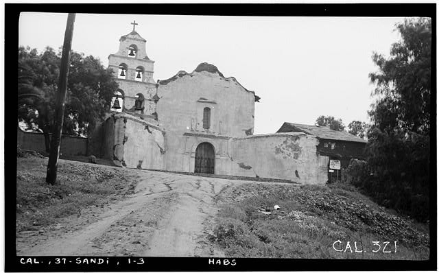 3.  Historic American Building Survey Photographed by Henry F. Withey December 1936 SOUTH FACADE, PHOTO - No. 2. - Mission San Diego de Alcala, Misson Valley Road, San Diego, San Diego County, CA
