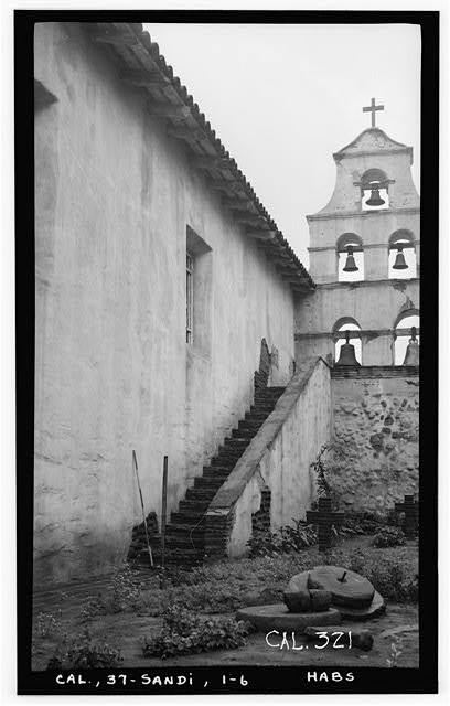 6.  Historic American Buildings Survey Photographed by Henry F. Withey, December, 1936 NORTH FACADE OF BELL TOWER. - Mission San Diego de Alcala, Misson Valley Road, San Diego, San Diego County, CA