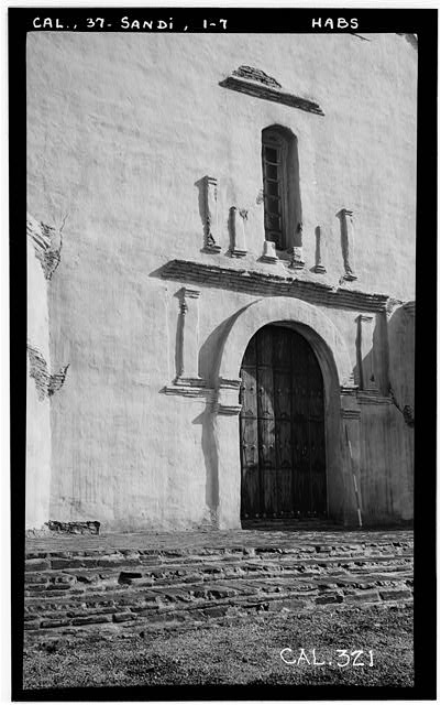 7.  Historic American Buildings Survey Photographed by Henry F. Withey, December, 1936 DETAIL OF SOUTH ENTRANCE. - Mission San Diego de Alcala, Misson Valley Road, San Diego, San Diego County, CA
