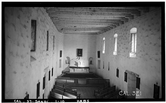 10.  Historic American Buildings Survey Photographed by Henry F. Withey December 1936 NAVE TOWARD CHANCEL - Mission San Diego de Alcala, Misson Valley Road, San Diego, San Diego County, CA